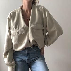 VINTAGE/ oversized drape button up